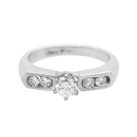 14K White Gold Dimaond Engagement Ring (G - H, VS1 - VS2) Size - 6.75