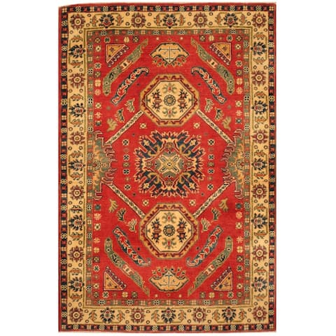 Handmade One-of-a-Kind Kazak Wool Rug (Afghanistan) - 3'4 x 5'2