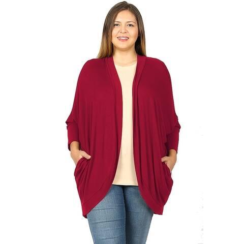 JED Women's Plus Size Cocoon Wrap Soft Knit Cardigan