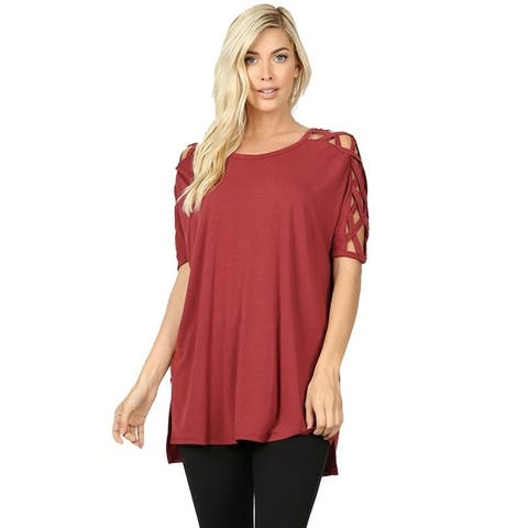 JED Women's Criss Cross Shoulder High Low Top