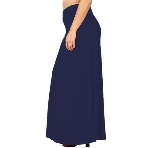 JED Women's Solid Fold-over Waist Knit Maxi Skirt