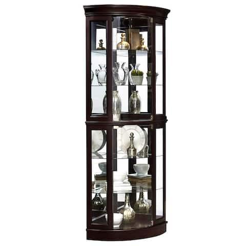 Dark Brown Finish Curved Five Shelf Corner Curio Cabinet