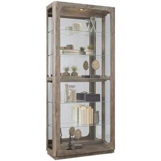 Oak Brown White Wash Finish Five Shelf Curio Cabinet - 36.0  X 14.0  X 80.0