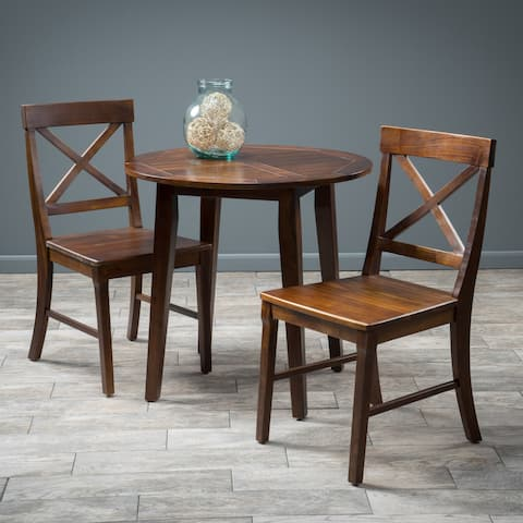 Carridge 3-piece Round Wood Dining Set by Christopher Knight Home