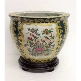 """Rose Medallon Green & Gold Scroll 10"""" Fishbowl w/ Stand"""