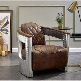 Boeing Brown Distressed Top Grain Leather and Aluminum Chair - 29.5  X 35.0  X 28.5