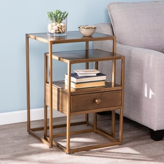 Silver Orchid Hinding Metal 2-piece Nesting Accent Table Set
