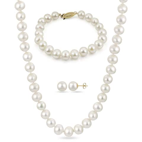 PearLustre by Imperial 3pc 10K Gold White Freshwater Pearl Jewelry Set