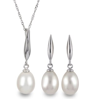 Link to PearLustre by Imperial Sterling Silver White Freshwater Pearl Drop Pendant and Earring Set Similar Items in Jewelry Sets