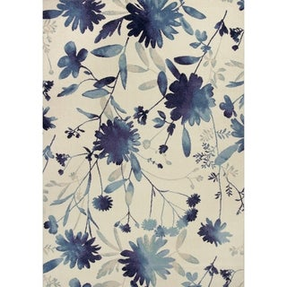 Domani Madison Blue Floral Watercolors Area Rug
