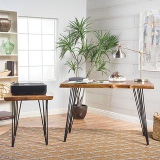 Kija Mid Century Faux LiveEdge Wood 2-piece Desk Set by Christopher Knight Home