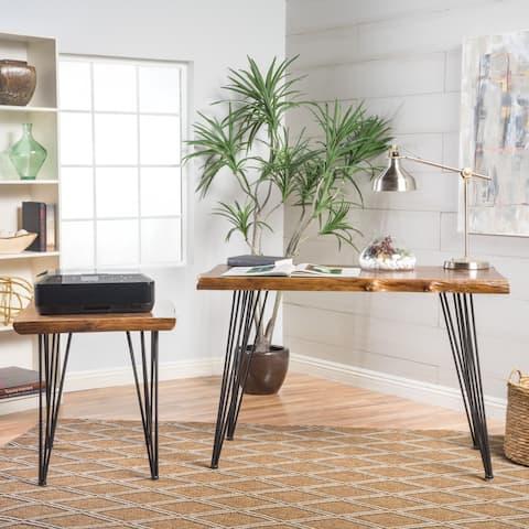 Christopher Knight Home Kija Mid-century Firwood Faux-Live-Edge 2-piece Desk Set