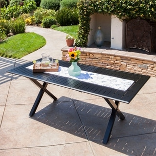 Exuma Outdoor Black Cast Aluminum Rectangular Dining Table by Christopher Knight Home