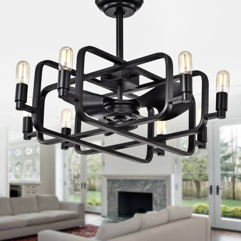 Usard Black 32-inch 8-light Lighted Ceiling Fan Fandelier (includes Remote and Light Kit)