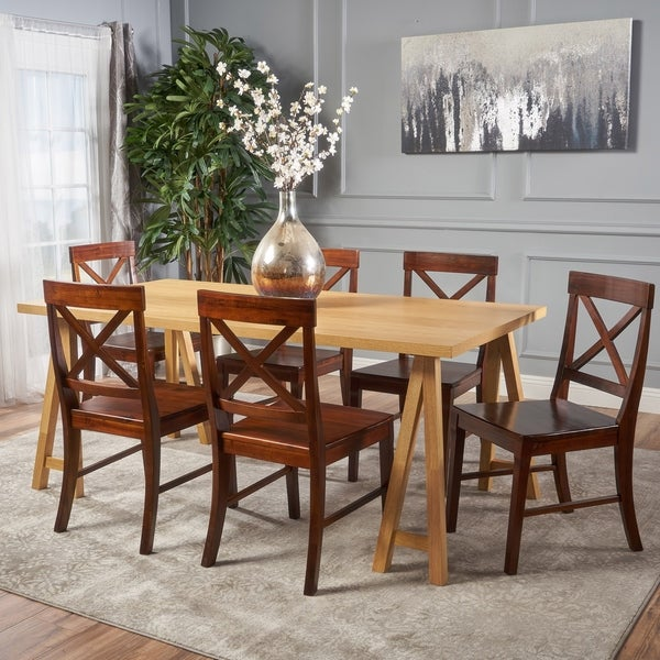 Sabine Farmhouse 7-piece Rectangular Wood Dining Set by Christopher Knight Home