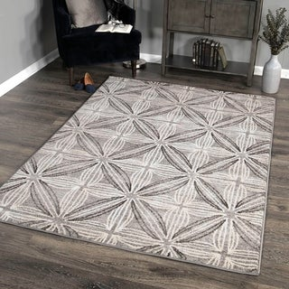 Daisy Contemporary Area Rug in Grey/Cream