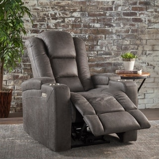 Christopher Knight Home Emersyn Slate Microfiber Power Recliner With Arm Storage and USB Cord
