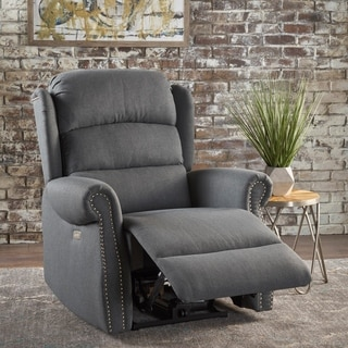 Christopher Knight Home Dezzie Grey/Blue Fabric Power Recliner