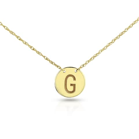 Annello by Kobelli Personalized Initial Pendant 14k Yellow Gold, Round Disk Tag - Sans Serif