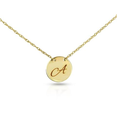 Annello by Kobelli Personalized Initial Pendant 14k Yellow Gold, Round Disk Tag - Lightweight Script