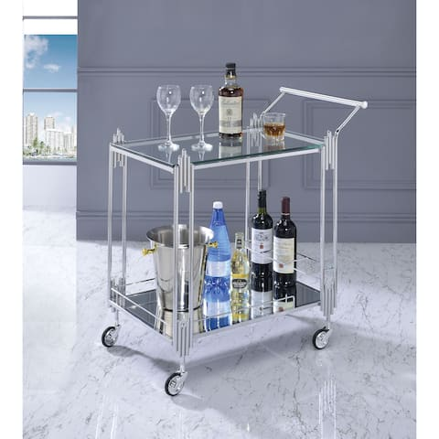 Canton Contemporary Chrome Serving Cart by FOA