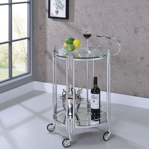 Silver Orchid O'Neil Chrome-finished Metal/Glass Serving Cart