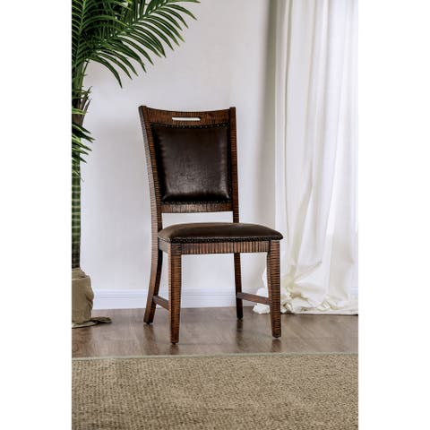 Furniture of America Pame Transitional Walnut Side Chairs (Set of 2)