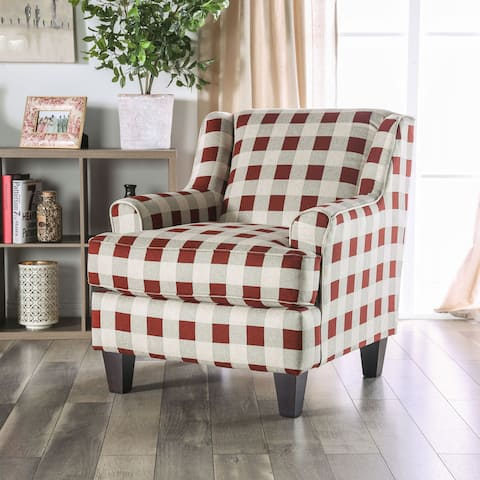 Tyler Transitional Red Plaid Accent Chair by FOA
