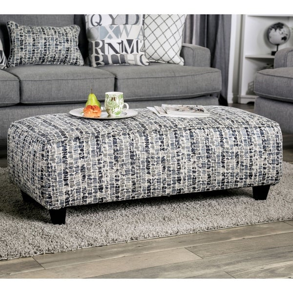 Furniture of America Fame Transitional Grey Fabric Upholstered Ottoman