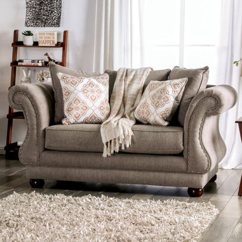 Gracewood Hollow Dizdar Transitional Grey Loveseat with Nailhead Trim