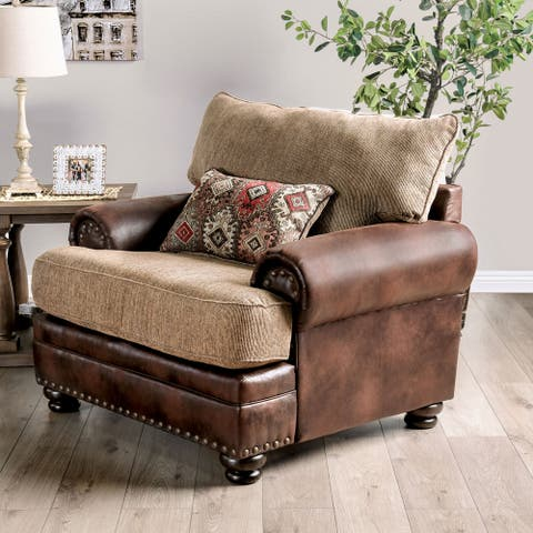 Furniture of America Dhirendra Traditional Brown Armchair