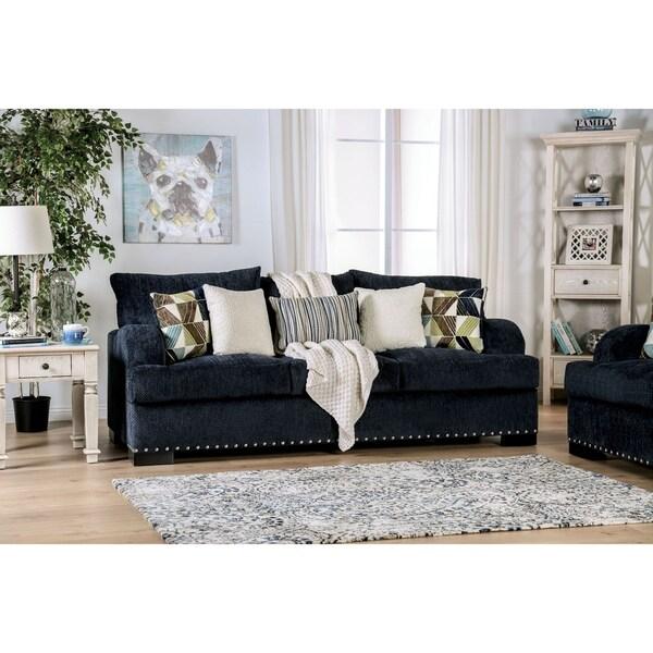 Modern Nailhead Sofa: Shop Prescott Contemporary Navy Nailhead Sofa By FOA
