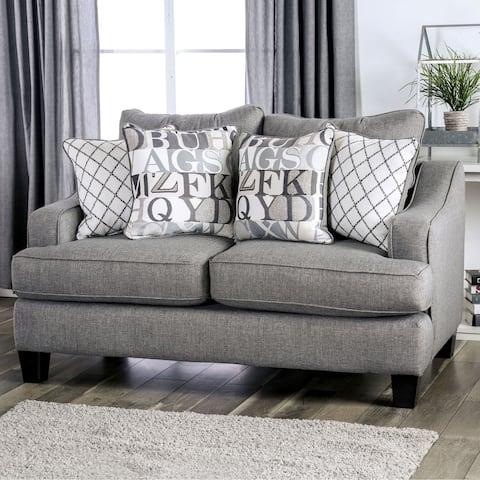 Furniture of America Qvareli Blue/Grey Loveseat