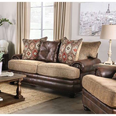 Furniture of America Dhirendra Traditional Brown Faux Leather Loveseat
