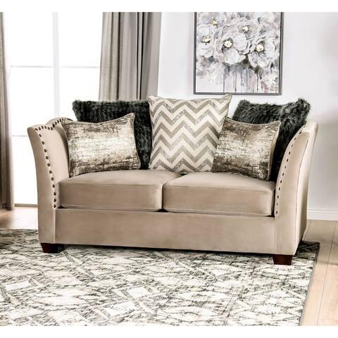 Furniture of America Daia Transitional Beige Fabric Nailhead Loveseat