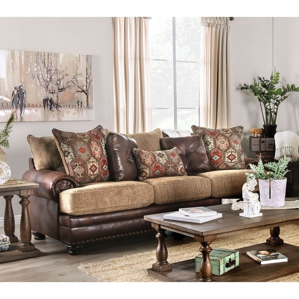 Gracewood Hollow Dhirendra Traditional Brown T-cushion Sofa