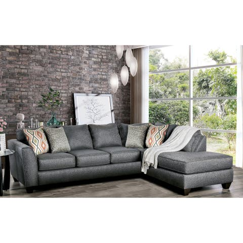 Furniture of America Coos Casual Grey Fabric Sectional