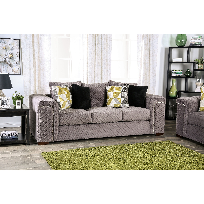 Bolton Eleri Grey Nailhead Sofa