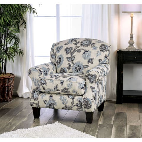 Furniture of America McCallan Transitional Ivory Fabric Padded Armchair