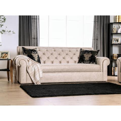 Furniture of America Estella Traditional Beige Tufted Sofa