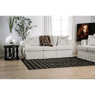 Furniture of America Pess Transitional Ivory Fabric T-cushion Sofa
