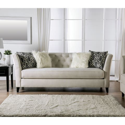 Silver Orchid Bankhead Honey Transitional Tufted Sofa