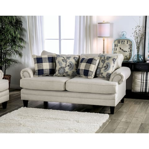 The Gray Barn Stormy Thistle Ivory Transitional Loveseat