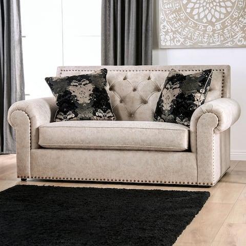 Furniture of America Estella Traditional Beige Tufted Loveseat