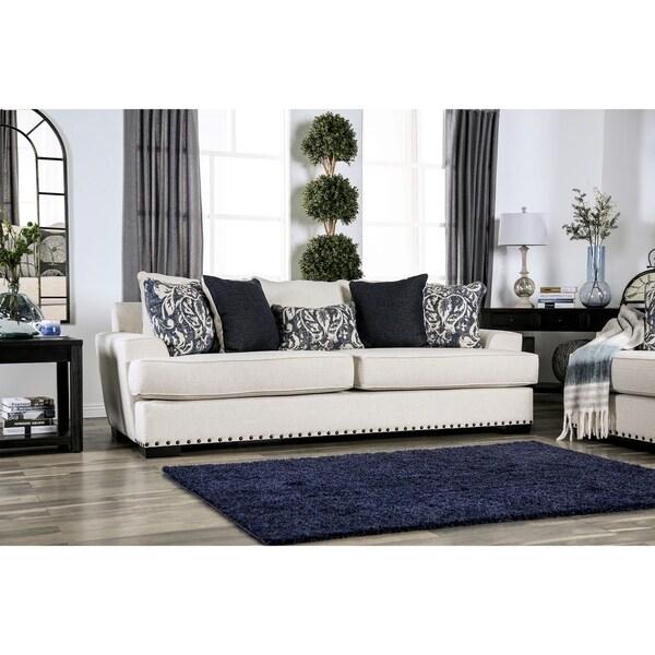 Modern Nailhead Sofa: Shop Katherine Contemporary Ivory Nailhead Sofa By FOA