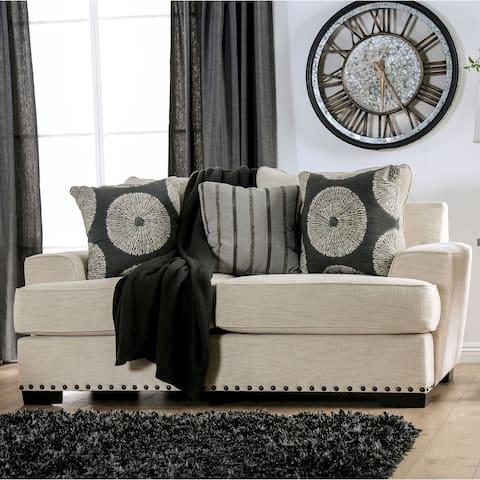 The Gray Barn Madeleine Way Ivory Fabric Contemporary Nailhead Loveseat