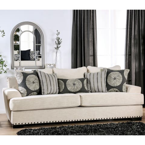 The Gray Barn Madeleine Way Contemporary Ivory Nailhead Sofa