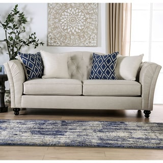 Silver Orchid Bankhead Transitional Ivory Tufted Sofa