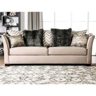 Silver Orchid La Marr Transitional Beige Nailhead Sofa