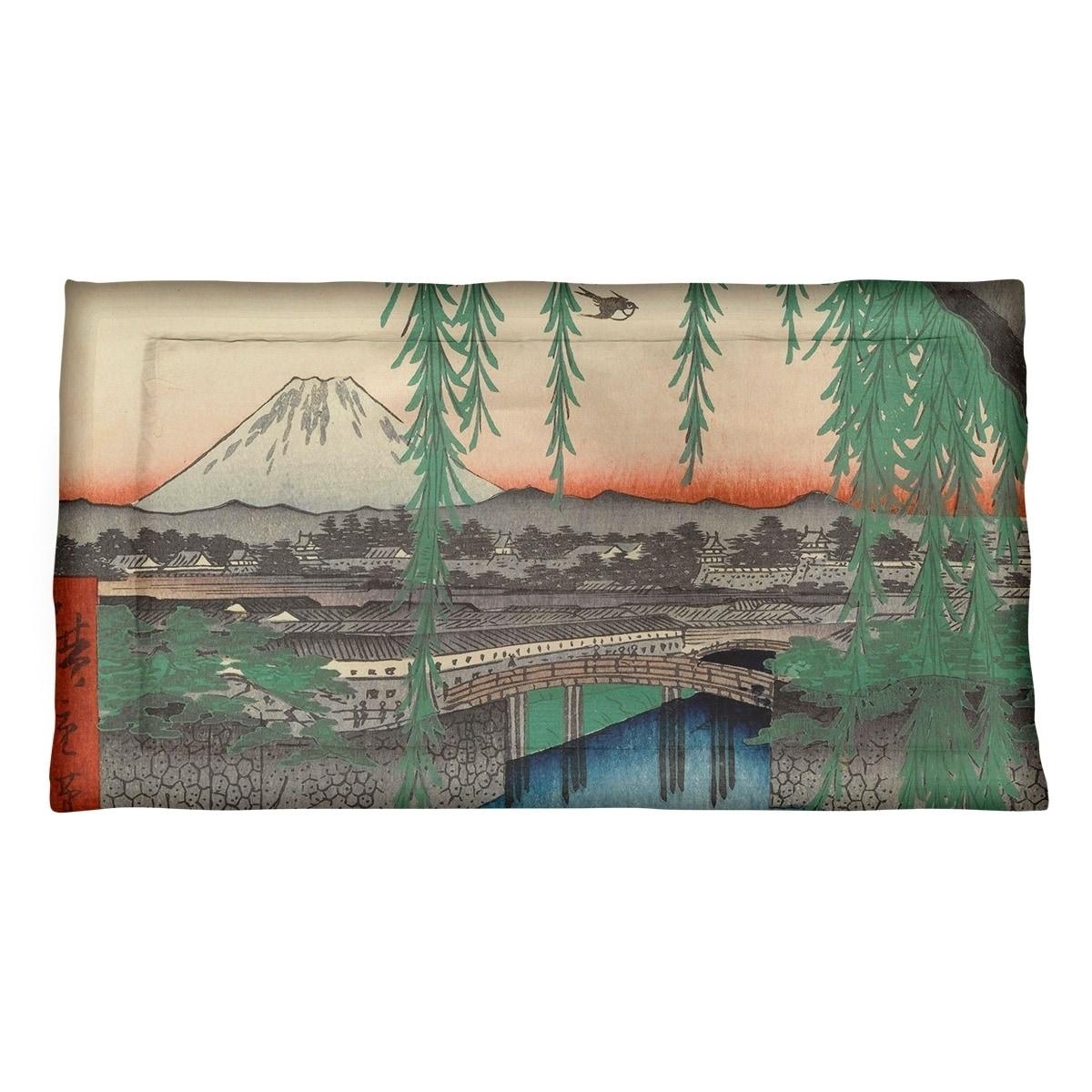 Utagawa Hiroshige Yatsumi Bridge Pillow Sham Microfiber Overstock 27496338